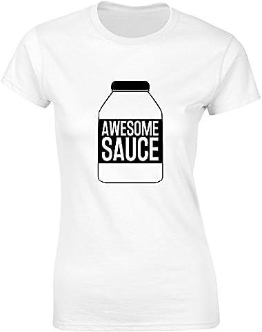 Awesome Sauce, Ladies Printed T-Shirt - White/Black M = 8-10