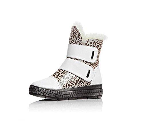 YYH Weibliche stabile Plattform Schnee Stiefel Klettverschluss Leder und samt kurzer Schlauch komfortable Baumwolle Bootie Damenschuhe , white , 35 (Plattform Schnalle Stiefel Beine Schwarze)