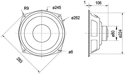 Visaton Lautsprecher 25,4cm (10 Zoll), 80W, 110W, untere Grenzfrequenz abhängig vom Gehäuse-6000Hz, 8Ω)