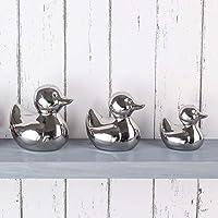 EEMKAY Set of 3 Silver Ducks Ornaments Fantastic Decorative Item