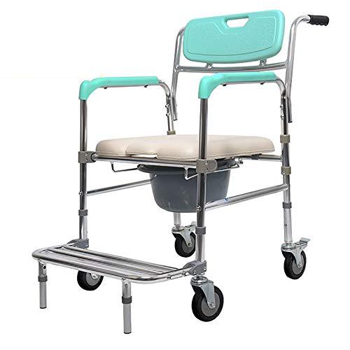 SUN RNPP Bettkommoden Toilettenstühle Anti-kippstuhl mit Pedal,gepolsterter Sitz mit Rollen,rückenlehne und Sitz,holunder,behinderte,Schwangere