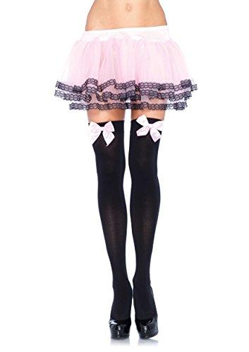 ickdichte Nylon Overknee Mit Satin Schleife, Einheitsgröße (EUR 36-40), schwarz/rosa, Damen Karneval Kostüm Fasching (Playboy Weihnachtsmann Kostüm)