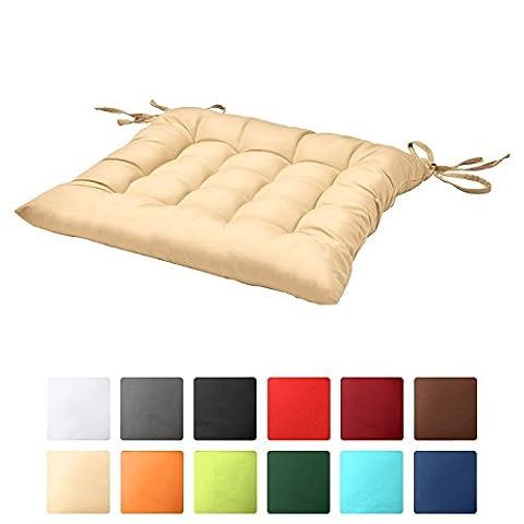 Beautissu Stuhlkissen Lea 40x40x5cm Sitzkissen für Stühle im Indoor & Outdoor-Bereich dicke Polsterung Vanille Creme