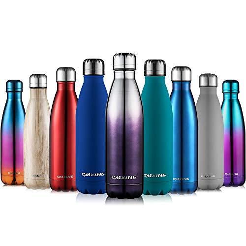 CMXING Doppelwandige Thermosflasche 500 mL mit Tasche BPA-Frei Edelstahl Trinkflasche Vakuum Isolierflasche Sportflasche für Outdoor-Sport Camping Mountainbike (Silber+Schwarz, 500 mL) -