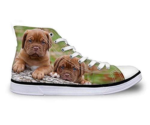 Fashion Dog Women Men High Top Lace Up Trainers Canvas Couple Shoes UK 2-11.5 Two Dogs CA5116AK UK 5\u002FEU38 -