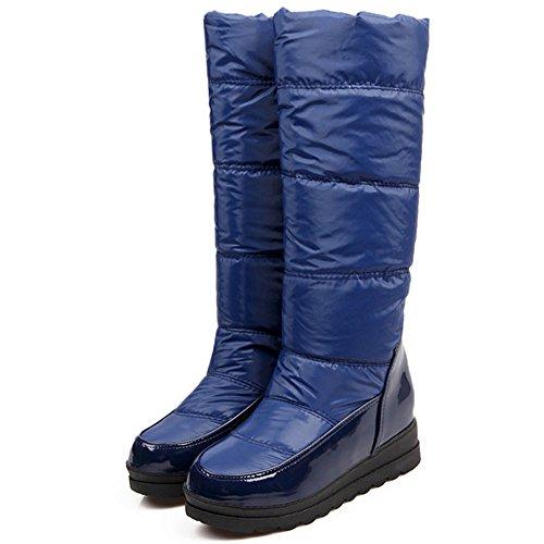 TAOFFEN Damen Winter Keilabsatz stiefel Warm Gefütterte Lange Stiefel Snow Boots Blau