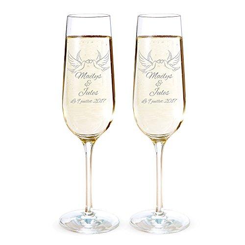 Amavel - Set de 2 flûtes à Champagne Gravure personnalisée [Noms] [Date] - Motif: Colombes - Verres à Champagne - Cadeau de Mariage - Saint Valentin - Anniversaire de Couple