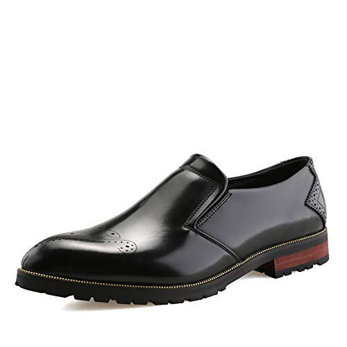 Jingkeke Herren Hochzeitskleid Oxfords for Herren Slip-on Walking Loafer Schuhe Synthese Leder Carving-Muster Vamp Block Ferse Ins Auge fallend Mode (Farbe : Schwarz, Größe : 43 EU) -