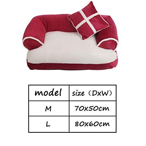BXX Sofá cama para mascotas universal Four Seasons para el hogar, cama con sofá para perros, Puppy/Kitten Lounge House, cama para perros grande y extraíble con cojines para perros, perrera,rojo,70x