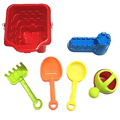 6 Stück Strand Spielzeug für Kleinkinder, Kinder Strand Sand Spielzeug Set mit Eimer und Schaufel, Safe und weiche Materialien Kunststoff Pool Spielzeug