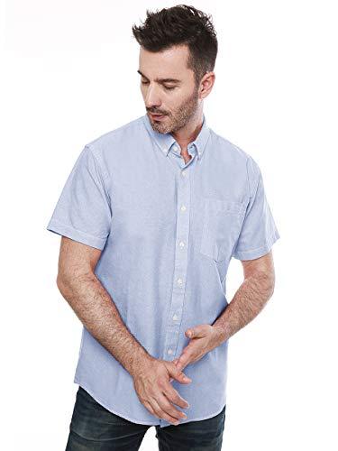 Mocotono Herren Oxford Kurzarm Button-Down-Freizeithemd Hellblau M -
