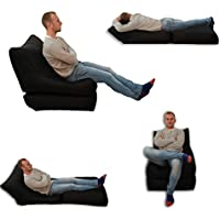 Beanbag Bed Chair Black Indoor And Outdoor Extra Large Gaming Seat XXXL Weather Resistant (Waterproof)