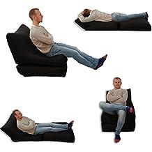 Puf cama y silla negro para uso en exterior e interior, tamaño extragrande, asiento XXXL para videojuegos, resistente a la intemperie (resistente al agua).