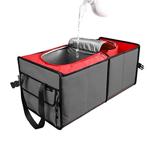 Elecfly Car Trunk Organizer- Cargo Storage Container -Durable & zusammenklappbar mitCooling und Isolierung Great für Auto, SUV, Truck, Minivan (Rot)