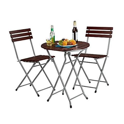 Relaxdays Ensemble table ronde et 2 chaises de jardin pliables en bois marron brun balcon terrasse, rouge