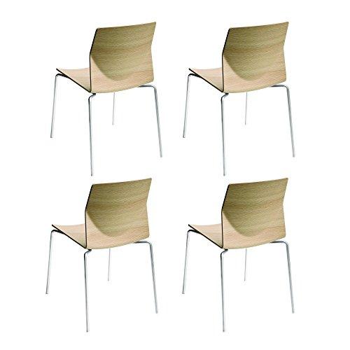 La Palma Kai – Set di 4 sedie Rovere Sbiancato/Legno