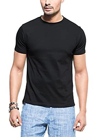 Zovi Black Solid Round Neck T-Shirt 113775007010L