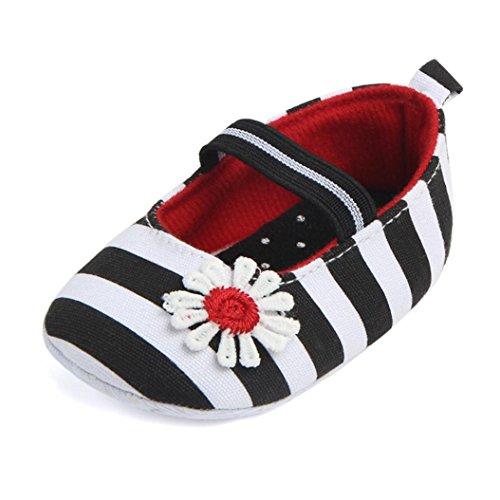 IGEMY Chaussures de fleurs à rayures pour nourrissons Chaussures pour bébés Black