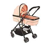 GKBMSP Leichter Kinderwagen Baby 2 im 1Stroller Travel System Faltbarer und konvertierbarer Buggy-Kinderwagen für Neugeborene 0-36 Monate,Pink