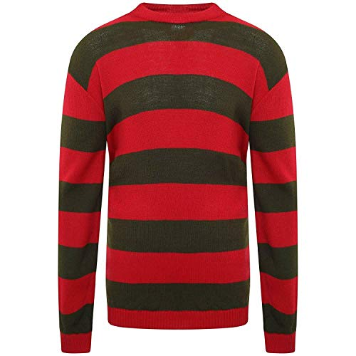 Kostüm Freddy Girl - NICE STYLE Kinder Jungen Mädchen Freddy Krueger Strickpullover, Halloween-Faschingskostüm, Rot/Grün Gr. 5-6 Jahre, rot, grün