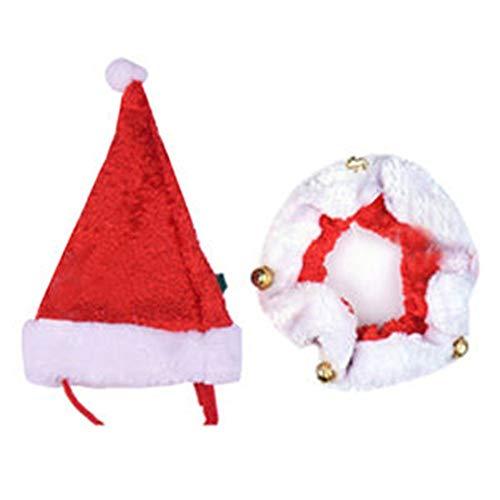 Formidables Pet Christmas Santa Hut Jingle Bells Kragen Große Neuheit Outfit für Hunde Welpen Katzen Kostüm Kostüm (Size : S) (Santa Gelb Hut)