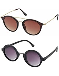 7f7bd45138 Aventus Stylish Sunglasses Combo-Black Round Sunglasses   Brown Metal Round  Sunglasses for Men Women