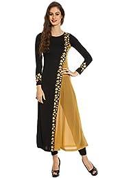 Ira Soleil Women's Polyester Stretch Knit Georgette Diagonal Block Printed Long Kurti
