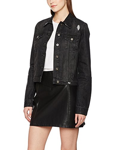Urban Classics Damen Jeansjacke Ladies Denim Jacket, Schwarz (Black Washed 709), Large