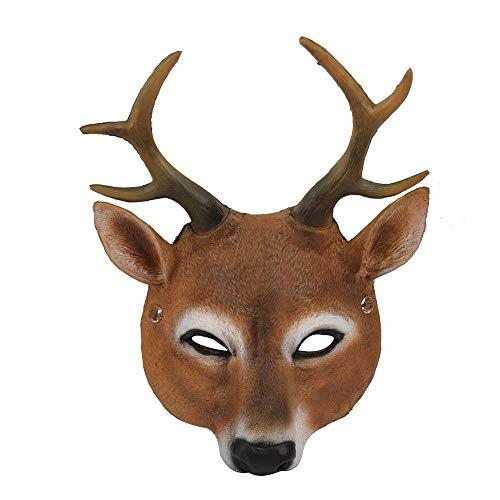 WanTo Weihnachten Rentier 3D Tier Realistische Halloween Party Pu-Schaum Latex Hirschkopf Maske, Hirsch