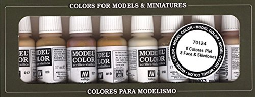 Affordable 3XVallejo Model Color Face Skin Colours Acrylic Paint Set – Assorted Colours (Pack of 8)