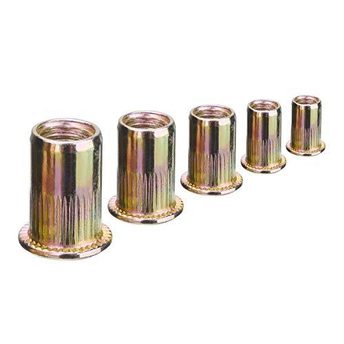 JZZJ Zinc Plated Carbon Steel Rivet Nut Insert Nutsert M4 M5 M6 M8 M10, 120 Pieces by