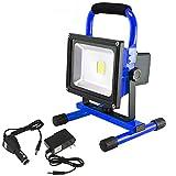 50W LED Baustrahler AKKU - LED Strahler Tragbare Warmweiß Arbeitsscheinwerfer Fluter Wasserdicht IP65, Blue (50W Warmweiß)