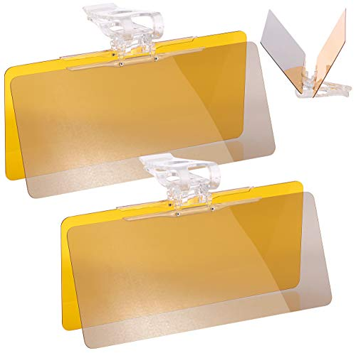 Lescars Autosonnenblende: 2er-Set Tag- & Nacht-Blendschutz für Auto-Sonnenblenden, je 30 x 13cm (Kfz Sonnenblende)