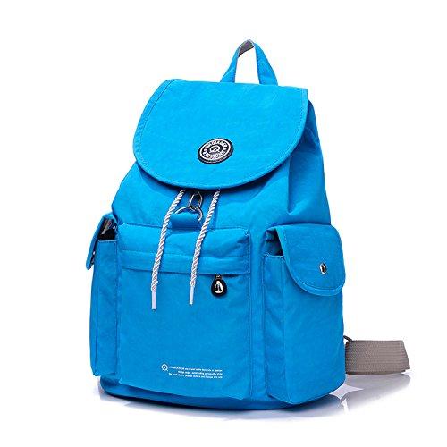 Outreo Rucksäcke Wasserdicht Schulrucksack Leichter Tasche Rucksack Damen Schultaschen Kordelzug Schul Backpack Daypack Reisetasche für Lässige Blau 3