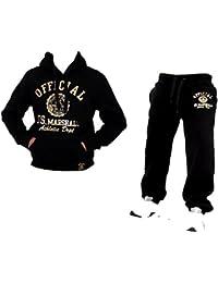 Herren & Damen Fitness Jogginganzug Sport-Anzug Trainingsanzug Hoodie Anzug Fleece US Marshall