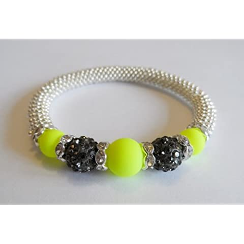 1 x Stunning Snowflake Yellow Glass & Gunmetal Clay Disco Bead Bling Stretch Bracelet Kit. No Tools Required! by Angel Malone - Tie Nail Knot