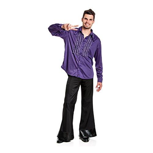Kostümplanet® Rüschen-Hemd für Herren im 70er Jahre Disco Retro Stil, Größe: 52 / 54, Farbe: violett / lila / purple, Kostüm, Outfit für Karneval, Fasching, Halloween - Herren (Kostüm Hippie Halloween Disco)