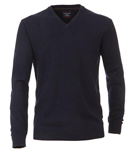 Casa Moda - Herren Pullover mit V-Ausschnitt in Melange Optik (462521200A), Farbe:Blau (135), Größe:XL (Pullover Pima-baumwolle)