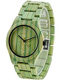 fdb35255d644 Hswt Reloj De Señoras Madera Impermeable Movimiento De Cuarzo Mesa De  Madera De Cuarzo Espejo De