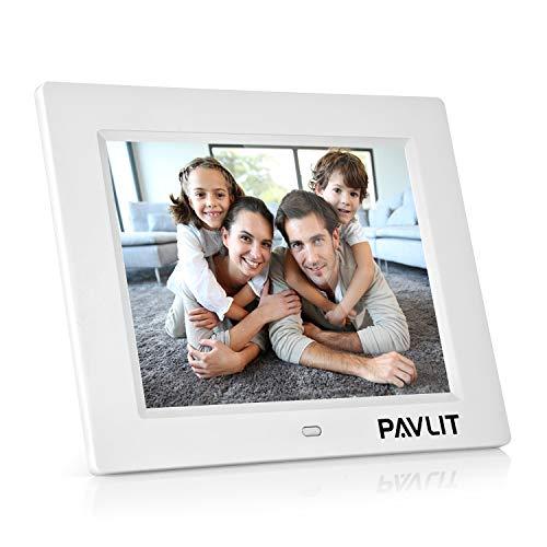 Marco Digital de Fotos, PAVLIT LCD Pantalla de 8 Pulgadas con Alta Resolución, IPS Widescreen HD para Fotos y Vídeos, Remote Control, Color Blanco