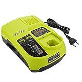 Powilling Chargeur de remplacement pour batterie 3A 12V-18V Ryobi ONE + 12V-18V rechargeable Ryobi Compatible avec BCL1418 260051002 P113 P117 P118
