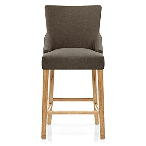 Magna Oak & Brown Fabric Bar Stool
