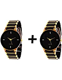 GTC QUARTS BLACK & GOLDEN ANALOG WATCH FOR MAN BUY ONE GET ONE FREE