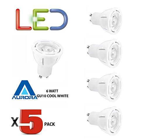 5Stück Aurora GU10Premium Aone 6W LED Leuchtmittel cool white 4000K entspricht 50W-perfekte Größe Nachrüst