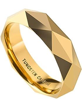 PiercingJ Herren Damen Diamond Facets Wolframcarbid Wolfram Ring Tungsten Ring Ehering Hochzeitsring Wedding Band...