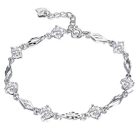 F.ZENI Femmes Bracelets Argent 925 Pétillant Zircone cubique Amour et baisers Bracelets pour