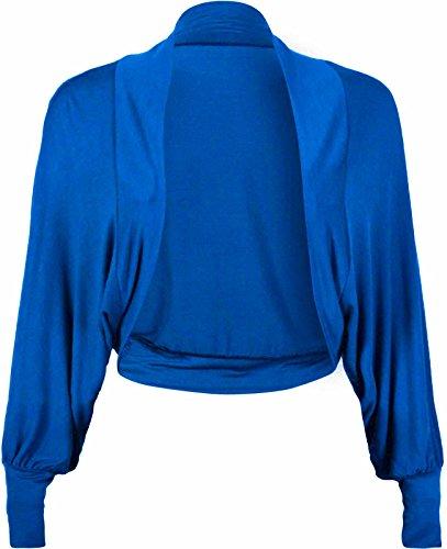 Janisramone donne Le signore Nuovo batwing Lungo Manica Pianura Bolero shrug Aperto davanti Ritagliata di jersey cardigan Cima Royal Blue