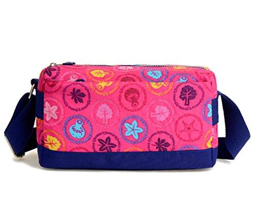 Tiny Chou leggera impermeabile in Nylon da viaggio, borsa a tracolla, borsa a tracolla, per bambina, con cerniera Rosa (Plum Mushrooms)