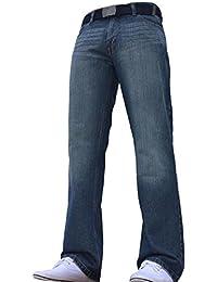 BNWT Jeans pour homme coupe droite Bleu foncé Toutes tailles