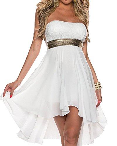 SaiDeng Mujeres Lentejuelas Sin Tirantes Vestido De Coctel Encanto Vestido Irregular Fiesta Vestidos M Blanco
